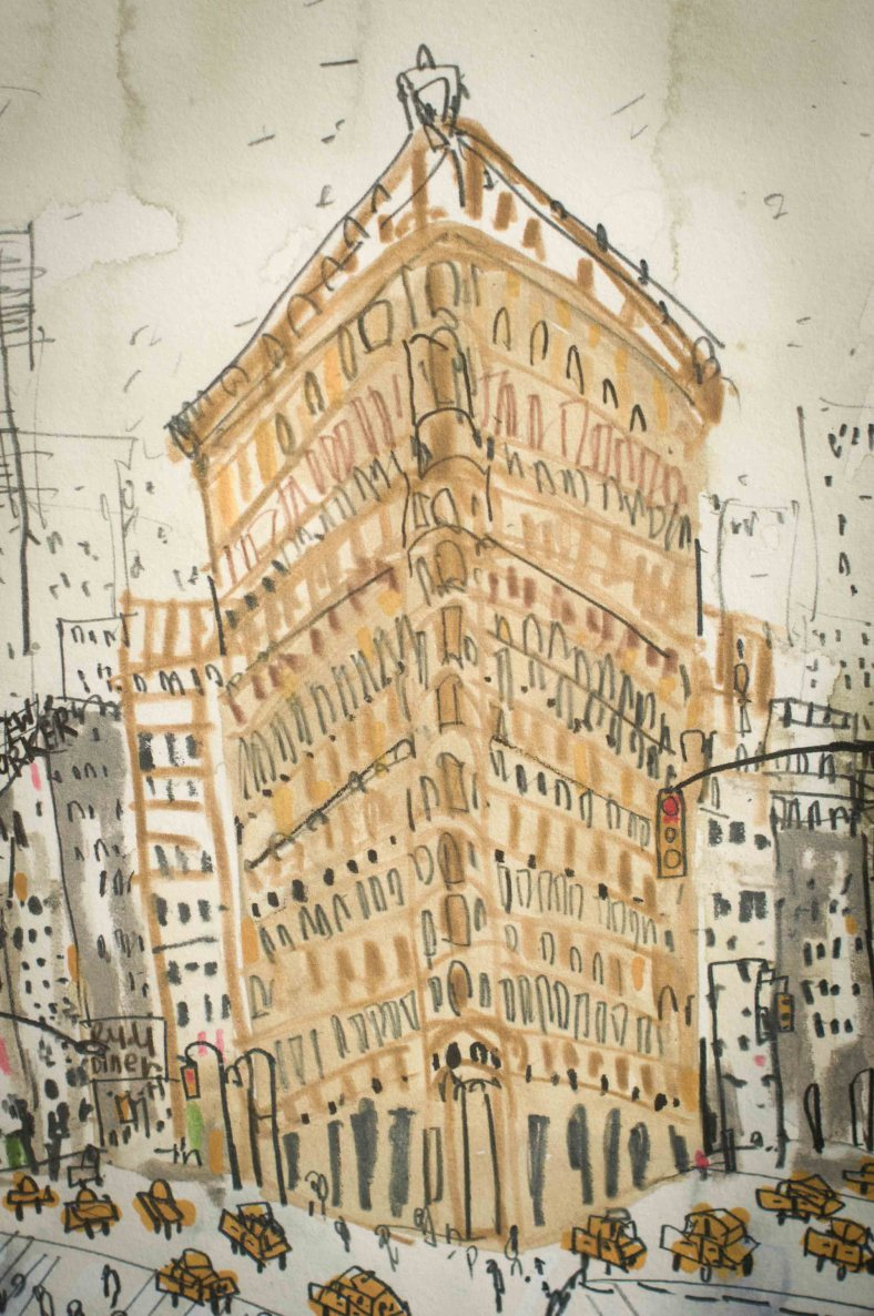 Pen and Ink city work by Clare Caulfield