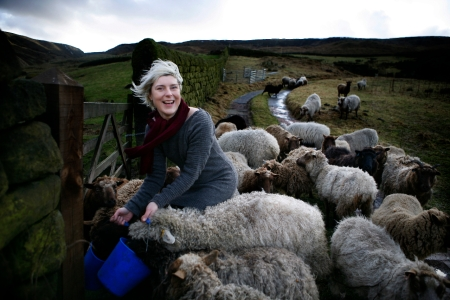 Beate out in the fields with her flock