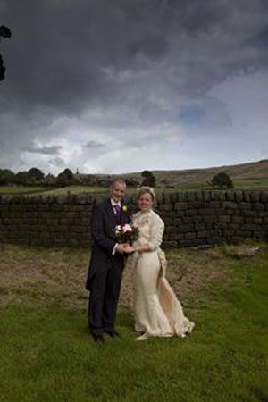 Dave and Nicola's wedding high on the Pennine Way!