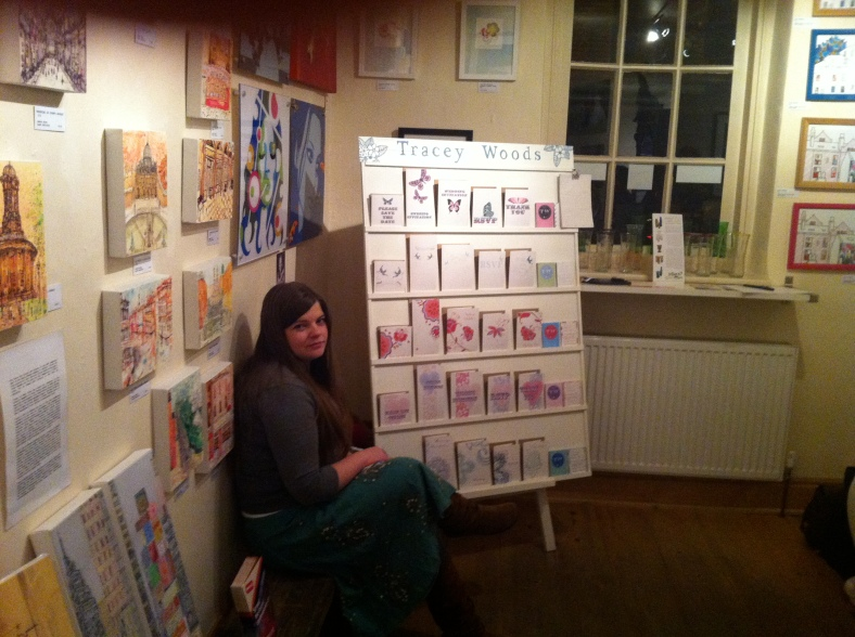 Tracey Woods enjoying a quiet rest by her lovely stand of Wedding Stationery