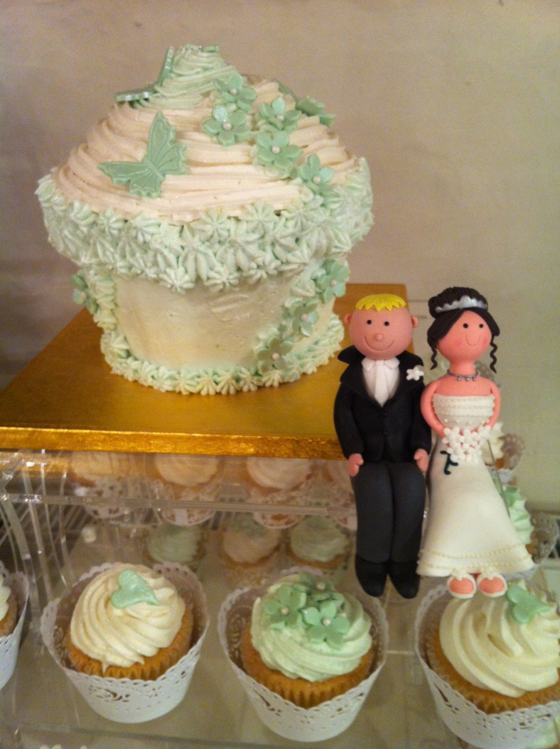 The Giant Cupcake is the top of the cupcake tower for Weddings