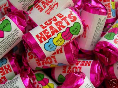 Love Hearts - given to customers on Valentines Day at Heart Gallery