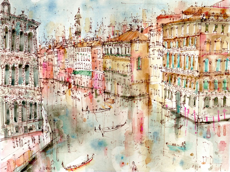 Grand Canal from Accademia Bridge Venice Clare Caulfield limited edition prints and originals from £40