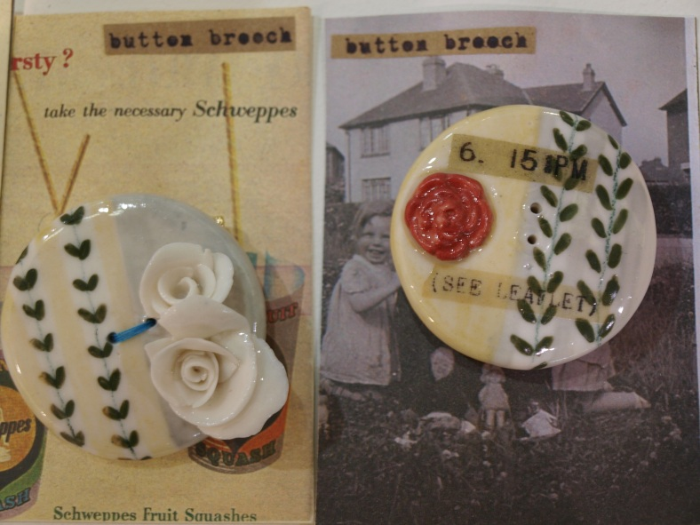 Two porcelain brooches