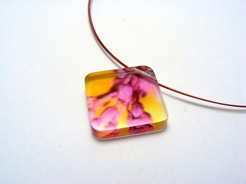 Bold Blossom Pink and Yellow Pendant