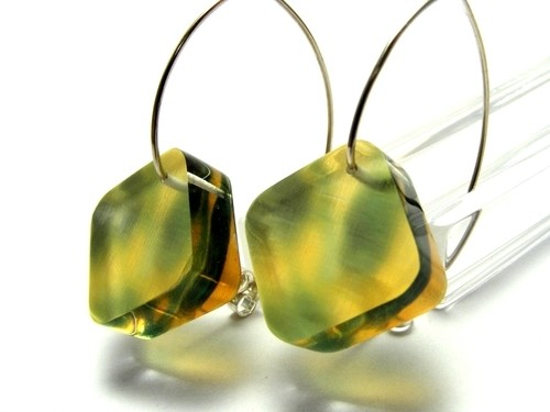 Bold Blossom Green and Yellow Earrings