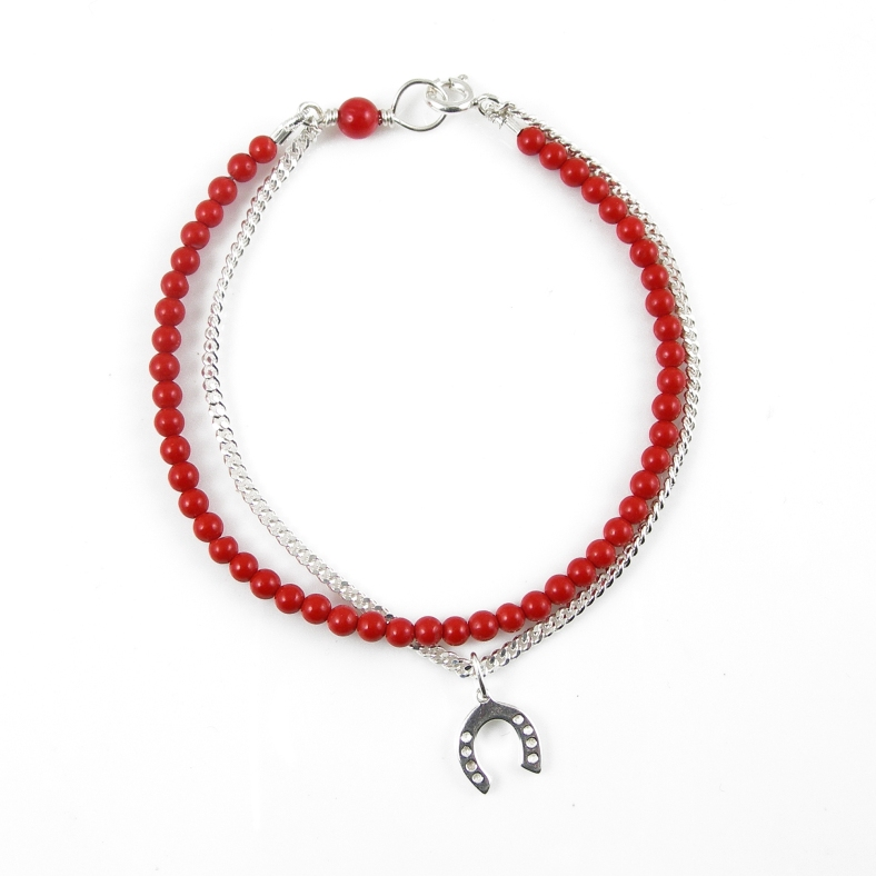 Coral & silver horseshoe friendship bracelet