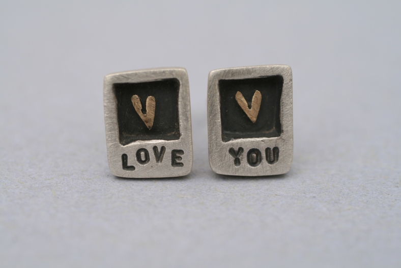 Love You - silver, 9ct yellow gold and oxidised silver studs