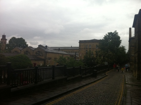 Saltaire with a grey and gloomy morning sky!