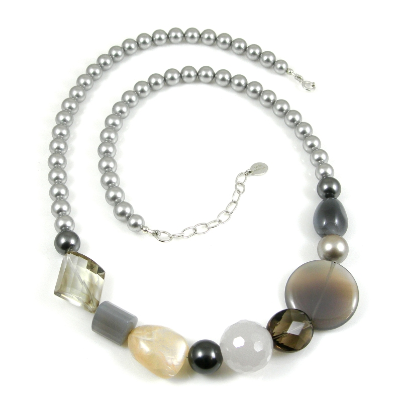 Semi-precious & swarovski pearl necklace