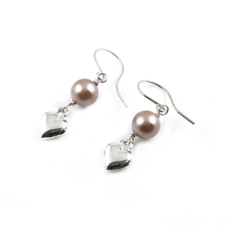 Swarovski pearl and silver heart earrings