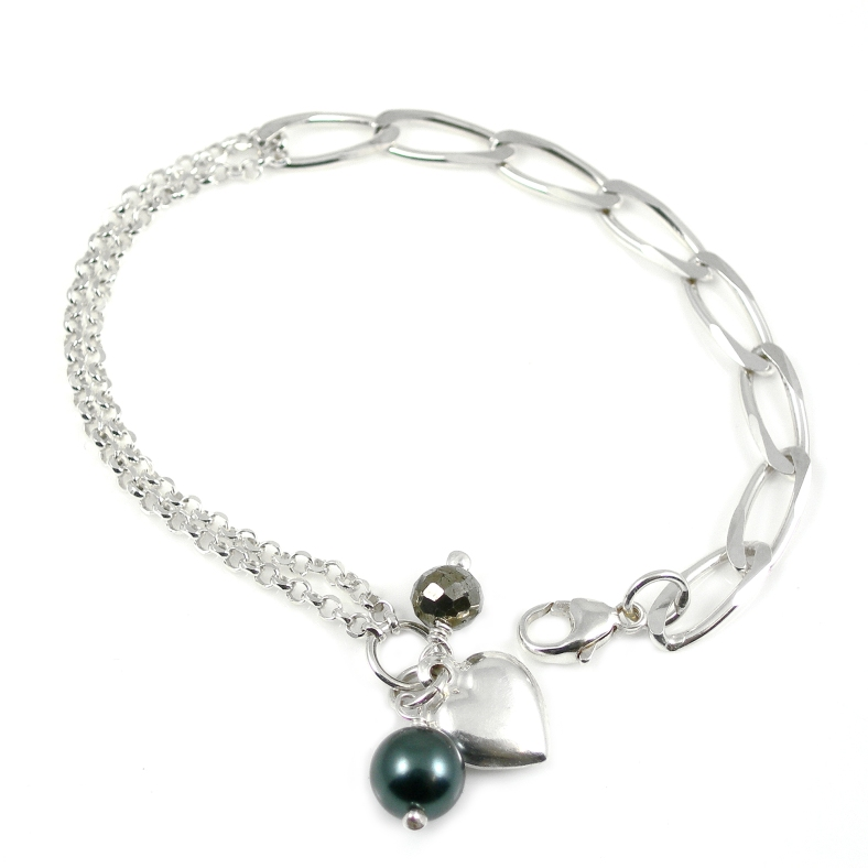 Swarovski pearl and heart bracelet