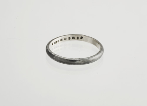 Oxidised silver Friendship ring - text on the inside