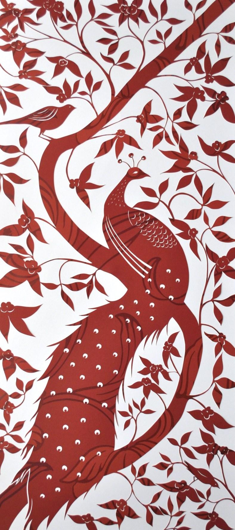 Peacock papercut