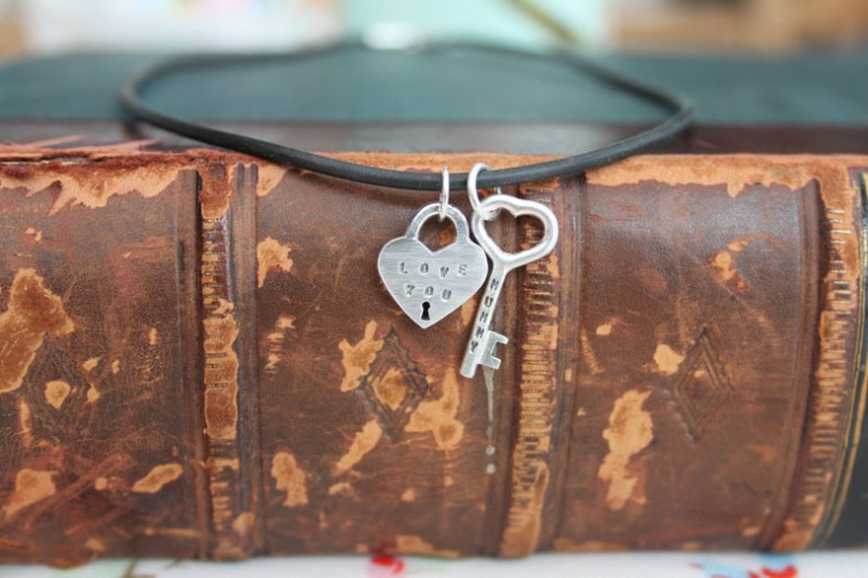 Personalised heart and key necklace