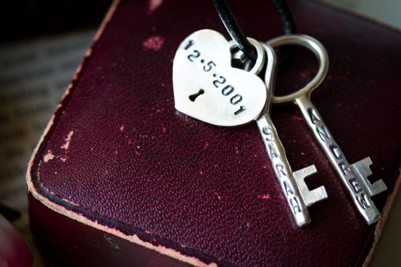 Personalised keys and padlock necklace