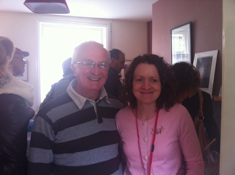 Clare Caulfield and her Dad in a very busy house!