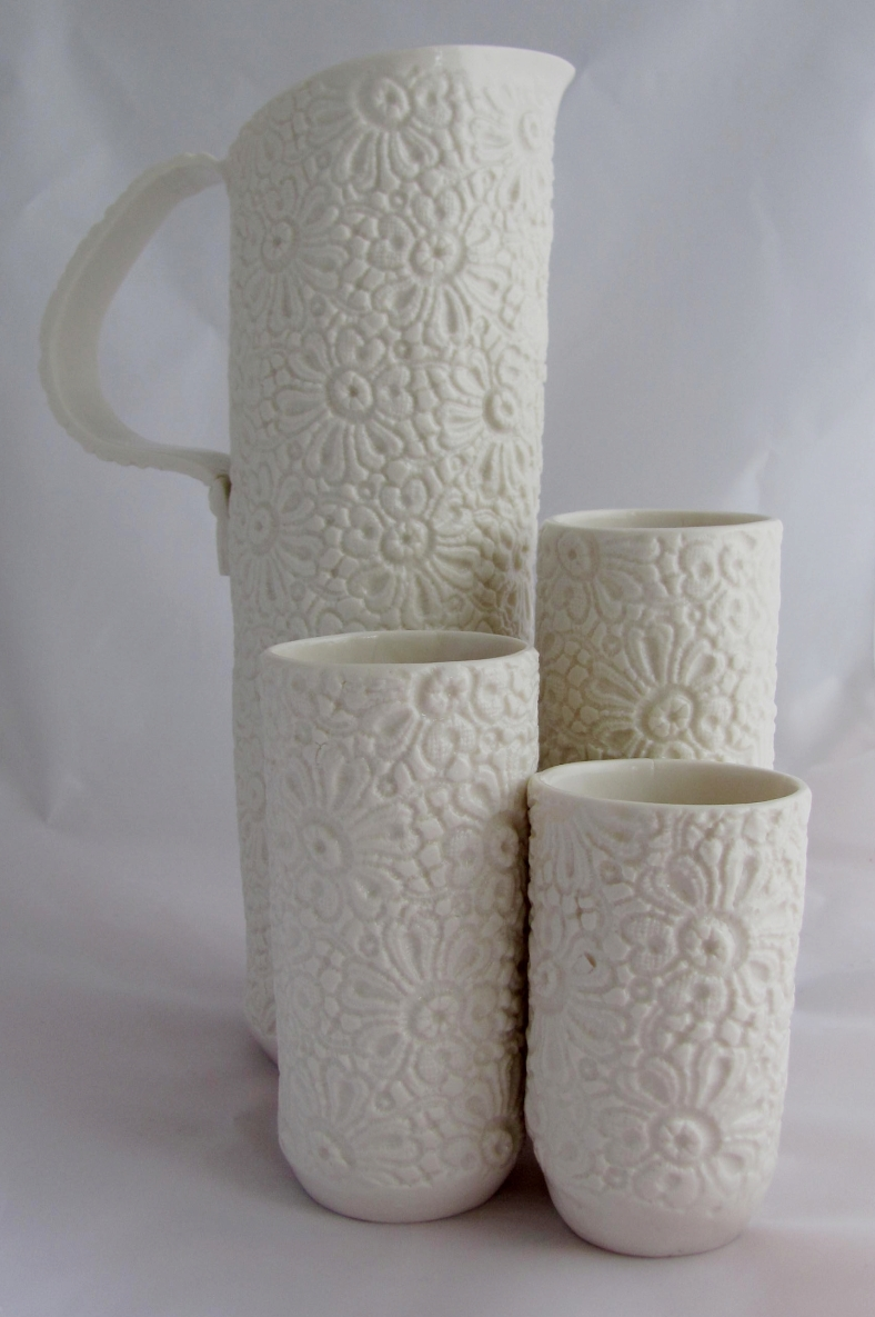 Stephanie Earl - porcelain lace textured jug and beakers