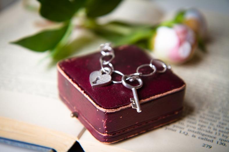 Silver padlock and key charm bracelet
