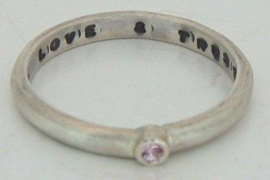 LOVE & TRUST silver ring with 2mm Pink Sapphire
