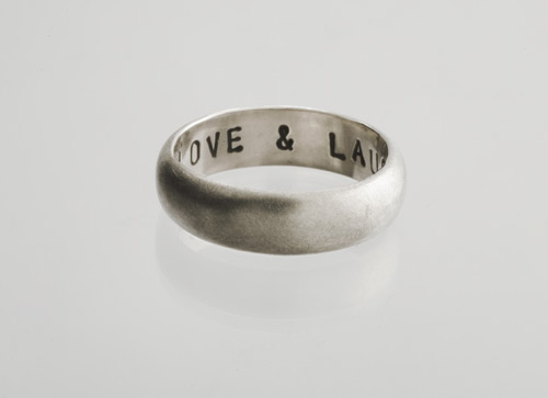 LOVE & LAUGHTER silver wedding band