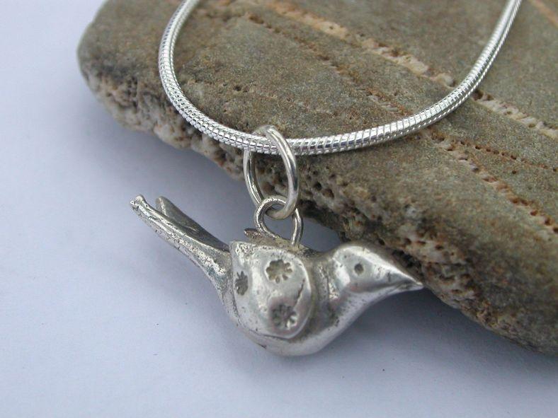 Silver small bird necklace