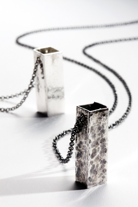 Tom Bramwell - Texture Box silver and oxidised silver jewellery