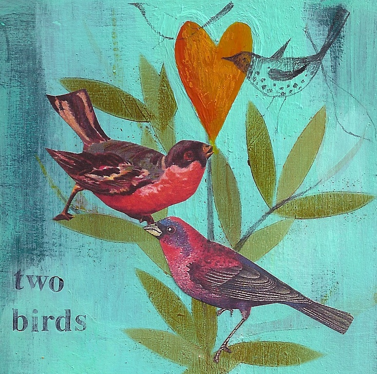 Julia Ogden - Birds. One of many designs Julia reproduces as greetings cards for Heart Gallery