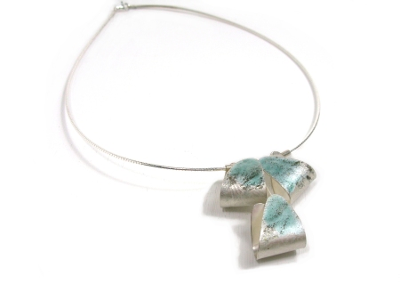 Curl Necklace - silver and enamel