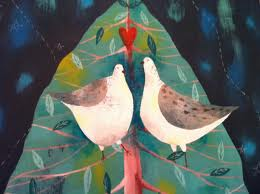 Two Turtle Doves - Julia's commission for Heart Gallery Christmas 2010