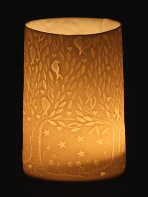 Songbirds porcelain tea light holder