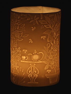 Tea in the Garden porcelain tea light holder
