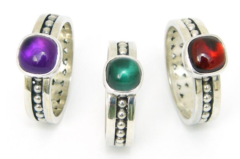 Rebecca Lewis - Granule rings set with semi-precious stones