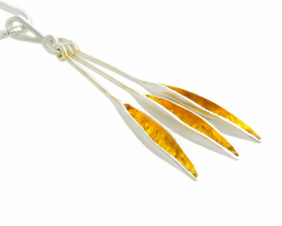 Triple leaf stem drop necklace in silver with 22ct gold plate