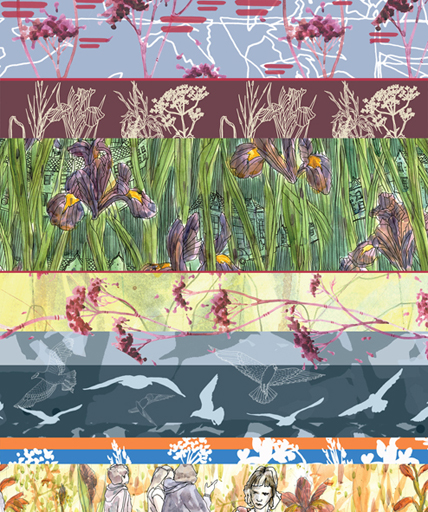 Claire Armitage - scarf print details