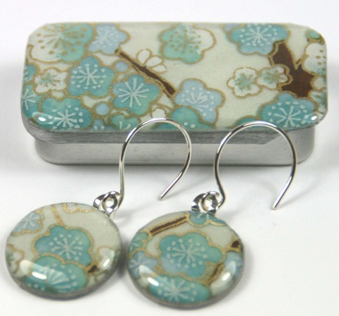 Sixpence earrings in blossom blue