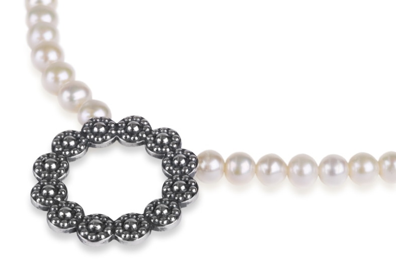 Rebecca Lewis - oxidised silver and fresh water pearls
