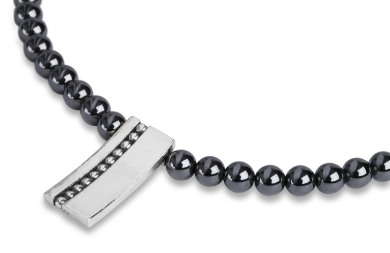 Rebecca Lewis - silver and oxidised granule pendant on peacock pearls