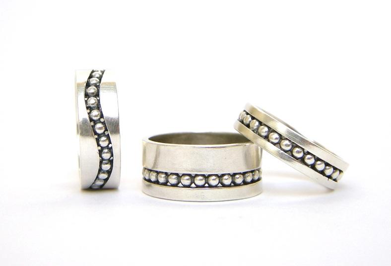 Rebecca Lewis - silver and oxidised silver granule rings