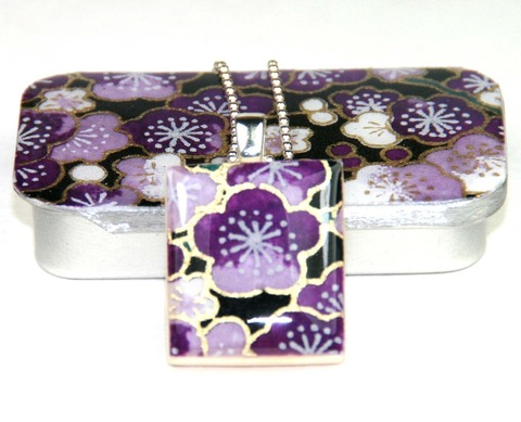 Scrabble tile necklace on silver chain with sakura amethyst