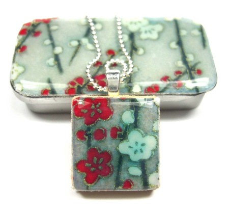 Vintage Scrabble Tile necklace on silver in Sky Blue Blossom chiyogami paper