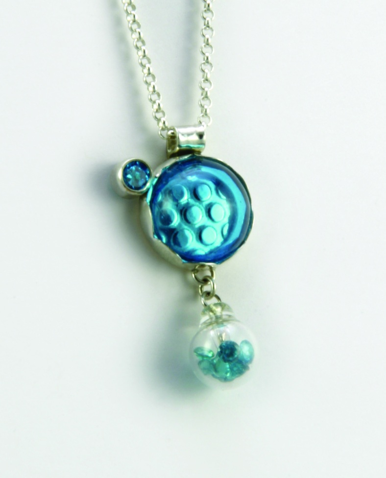 Single Blue Dome and Stone silver necklace