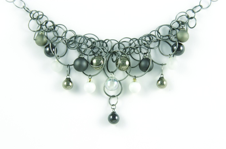 7 Plat Black Frost 16 Bubble Necklace in oxidised silver