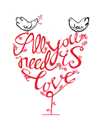 All You Need Is Love - unframed limited edition print - Helen Lang