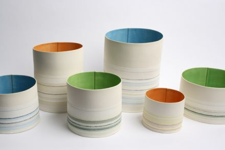 Slab Built earthenware vessels by Rachel Foxwell