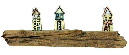 Mark Smith - ceramic houses on driftwood