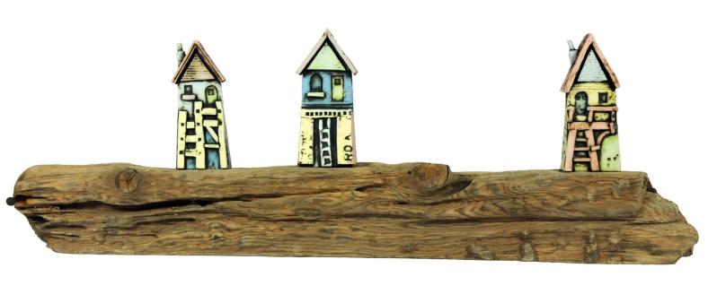 Mark Smith - ceramic houses on driftwood