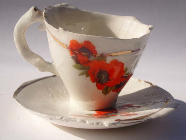 Small poppy cup and saucer