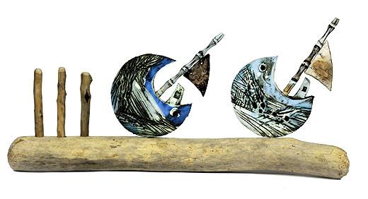 Mark Smith - Small boats on driftwood