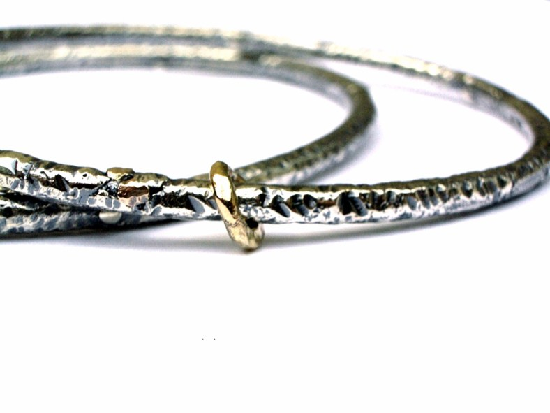 Oxidised silver corrosion bangles by Shirley Smith